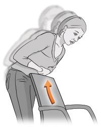 Ilustración de una mujer atragantándose inclinada sobre el respaldo de una silla para realizar sola la maniobra de rescate.