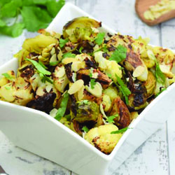 Roasted Cauliflower and Brussels Sprouts with Olives and Pine Nuts