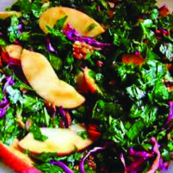 Autumn Kale Salad with Pears and Maple-Mustard Dressing