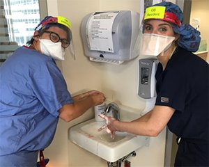 Residents washing up in ICU