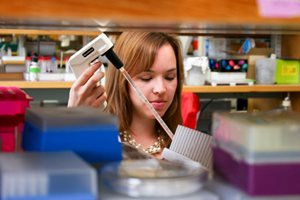 Research with pipette in lab