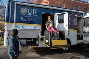 SMILEmobile showing wheelchair lift