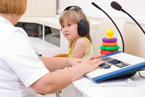 Child in a hearing test