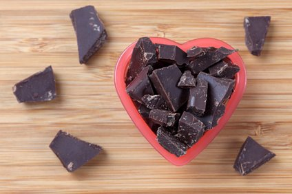 heart-shaped bowl filled with chunks of dark chocolate