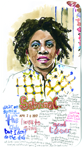 Watercolor of Sabrina C with text surrounding her and a date of April 20, 2017
