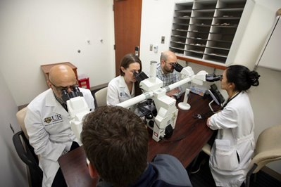 fellows in the microscope room