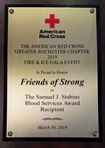 The 2019 Samuel J. Stabins Blood Services Award plaque.