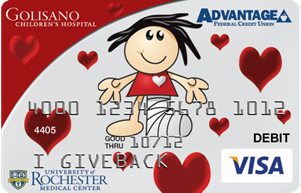 The Golisano Children's Hospital Give Back Card from Advantage FCU