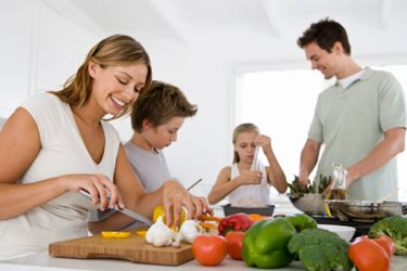 family preparing a healthy meal