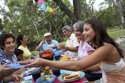 family having a summer picnic