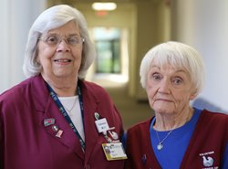 Marsha Clark and Carol Ennis at Strong Memorial Hospital West Campus.