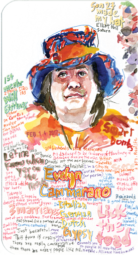 Watercolor of Evelyn with text around her and a date of February 14, 2017