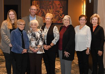 The recipients of the 2019 Friends of Strong Memorial Hospital Volunteer Service Award Gather at the celebration luncheon.
