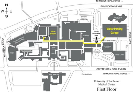 Map of University Rochester Medical Center - Crane Lab