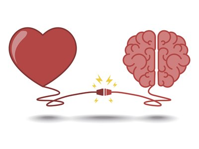 Cartoon of a heart connected to a brain