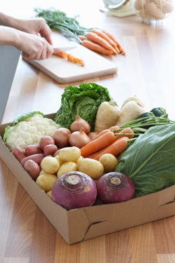 Root vegetables on a kitchen counter