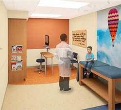 levine autism clinic patient room rendering