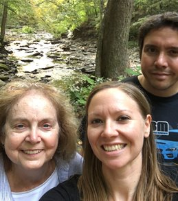 Margaret Lowery and her children hiking