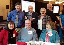 Bud with his family at the 2019 Rochester Business Journal Health Care Achievement Awards reception, March 2019.