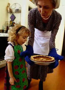 grandma, todder and pie