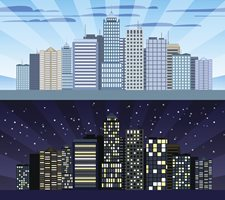 Cityscape day and night