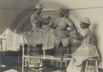 Student nurses practice surgical procedure at the Buffalo City Hospital School of Nursing, 1908.