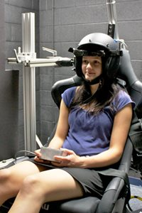 Photo of a subject in the testing chair