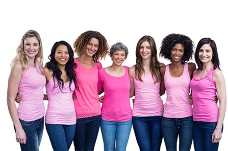 Group of diverse women in pink shirts