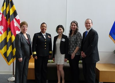 "Xiaowen ""Cindy"" Wang poses with FDA officials and UR CTSI regulatory science leaders at the FDA"