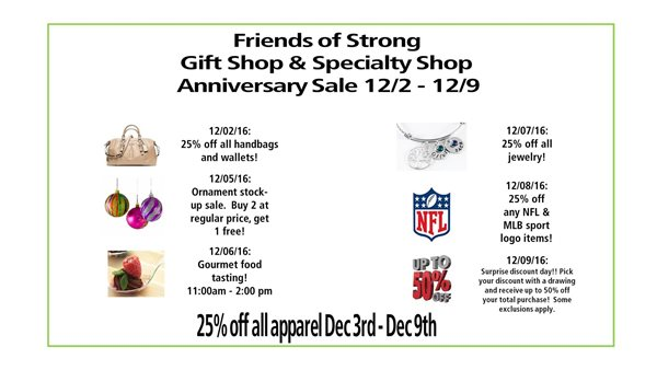 Gift Shop Sale Dec. 2016