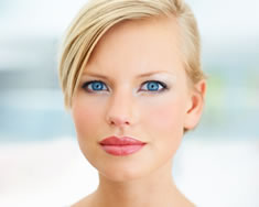 Head shot of blonde woman's face