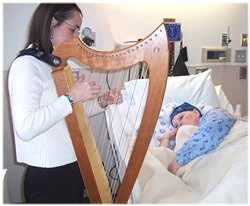 harpist working with a patient