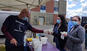 Staff getting food