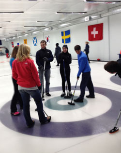 photo of students curling