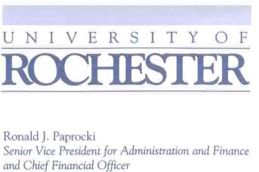 Ronald J. Paprocki Business Card, Senior Vice President for Administration and Finance and Chief Financial Officer