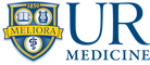 UR Medicine logo consisting of a shield containing 'MELIORA' and '1850', and 'UR MEDICINE' in blue letters on a white background.